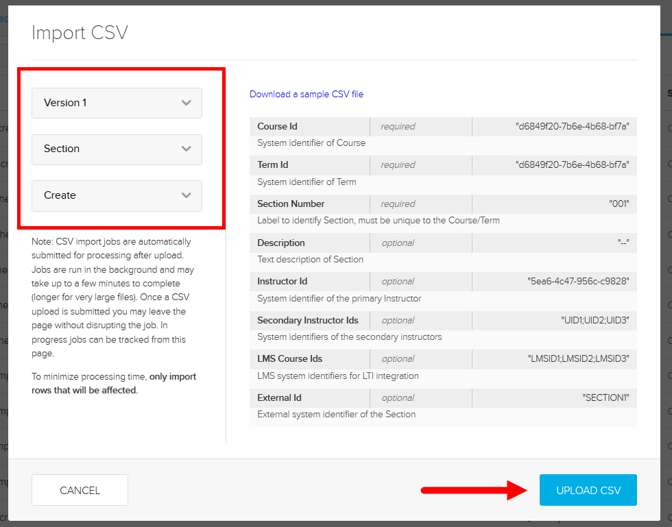 Import CSV dialog box with options and selections for steps as described