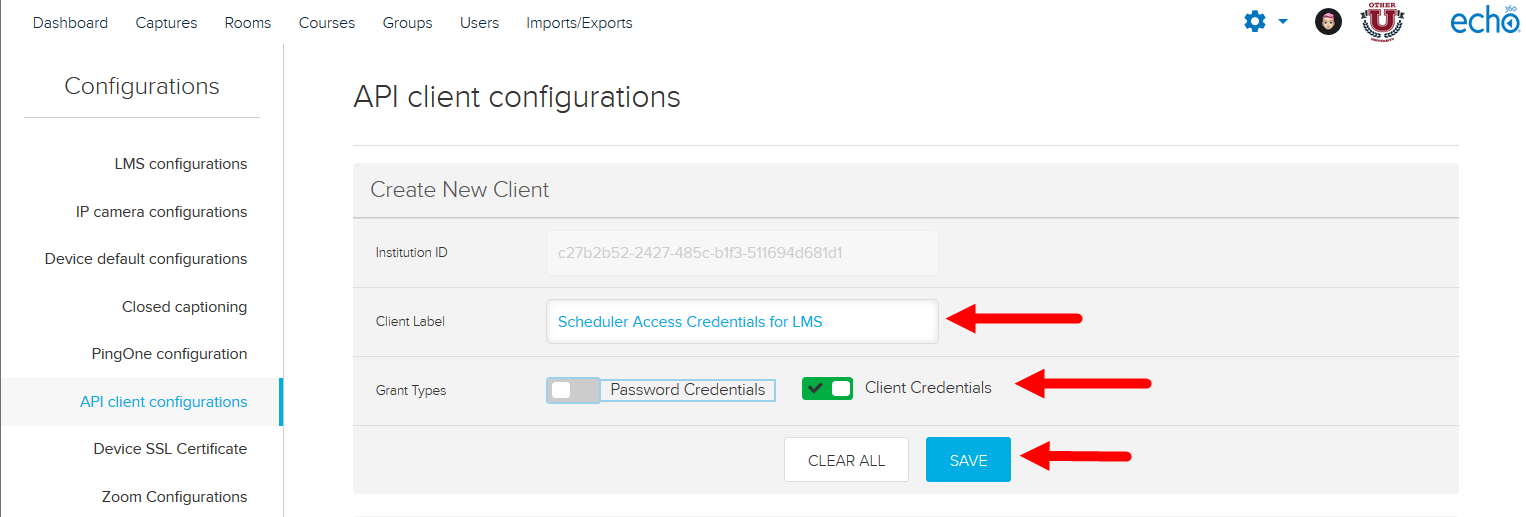 API Client Configuration form with fields and save button identified for steps as described