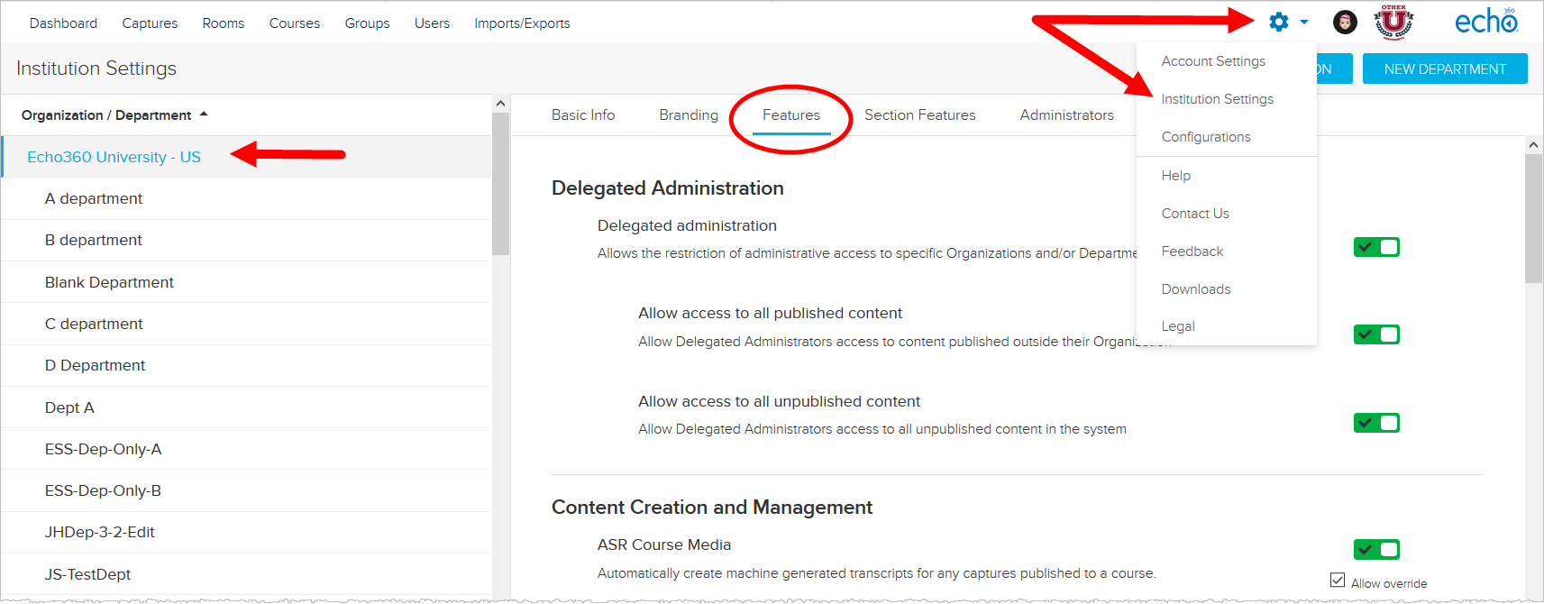 Institution Settings Features page with navigation identified for steps as described