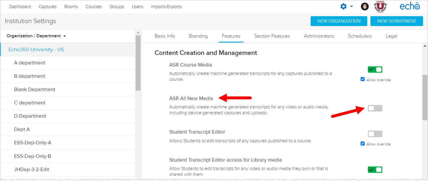 Institution Features showing Content Creation and Management section and ASR All new Media option identified for steps as described