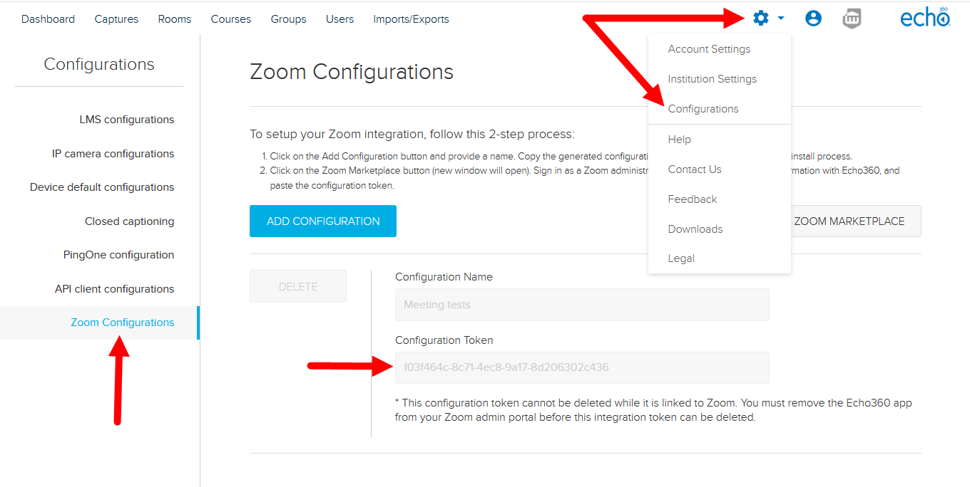 Echo360 Configurations page with Zoom Configuration tab open and token identified along with navigation as described