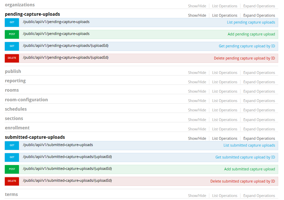 SwaggerDocs page showing new capture intake API endpoints as described