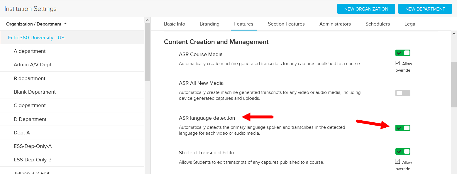 Institution Features showing Content Creation and Management section and ASR Language Detection option identified for steps as described