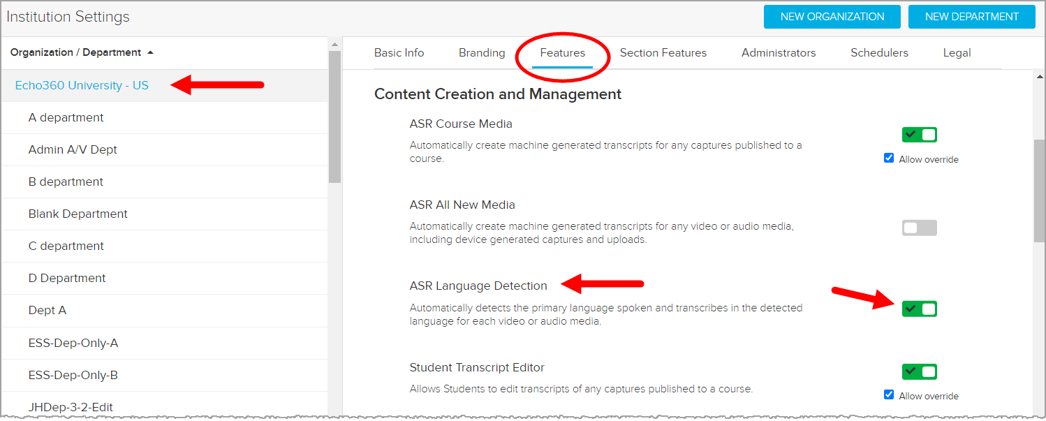 Institution Settings Features page with ASR Language Detection toggle identified for steps as described
